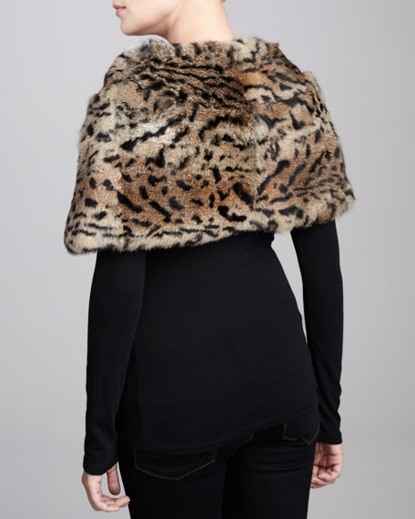 Small Pleated Leopard-Print Rabbit Fur Stole