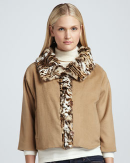 Adrienne Landau Lynx-Print Rabbit Fur-Trim Jacket