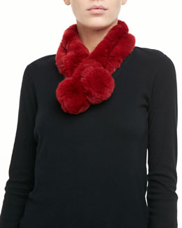 Belle Fare Rabbit Fur Neck Warmer, Red