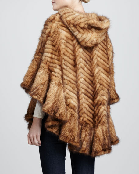 Herringbone Mink Fur Cape Coat, Whisky