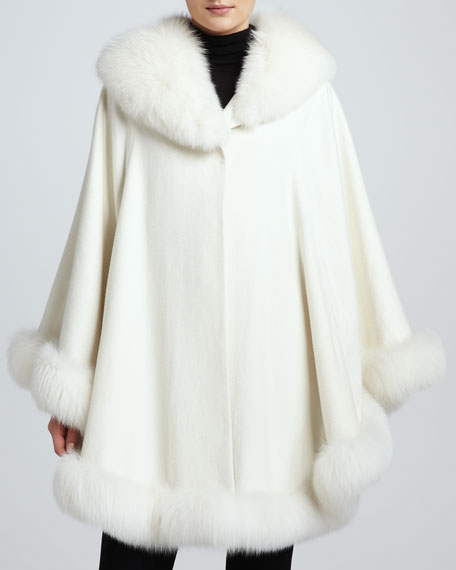 Cashmere Fox Fur-Trim Shawl Cape