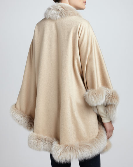Frosted Fox-Trim Cashmere Cape, Yellow