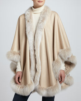 Sofia Cashmere Frosted Fox-Trim Cashmere Cape, Yellow