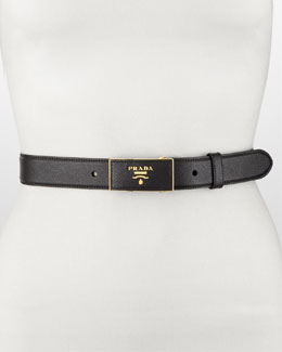 Prada Saffiano Leather-Buckle Belt, Black