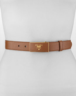 Saffiano Leather-Buckle Belt, Light Brown