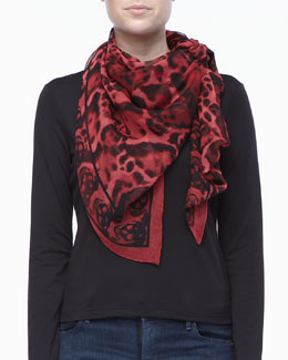 Alexander McQueen Animalier Skull-Print Scarf, Red/Black
