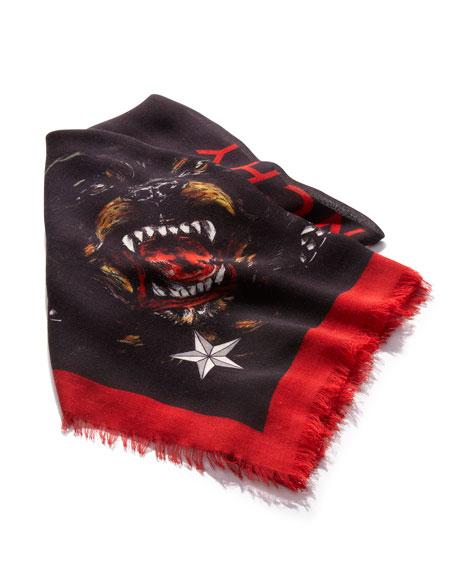 Rottweiler Fringe Scarf, Black/Red