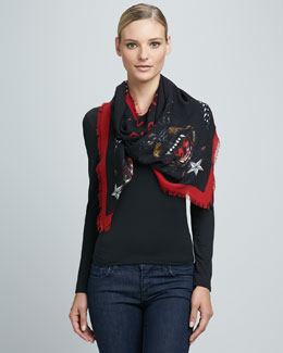 Givenchy Rottweiler Fringe Scarf, Black/Red