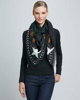 Givenchy Doberman Square Wool Scarf, Emerald Green