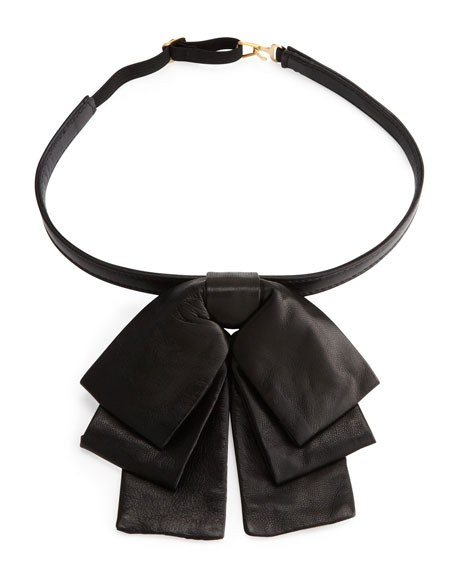 Leather Bow Collar