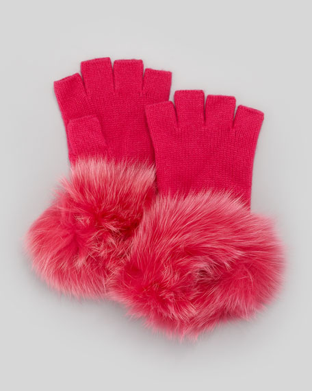 Fur-Cuff Fingerless Cashmere Gloves, Fuchsia