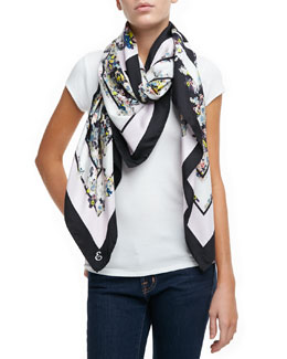 Erdem The Eames Park Printed Silk Scarf