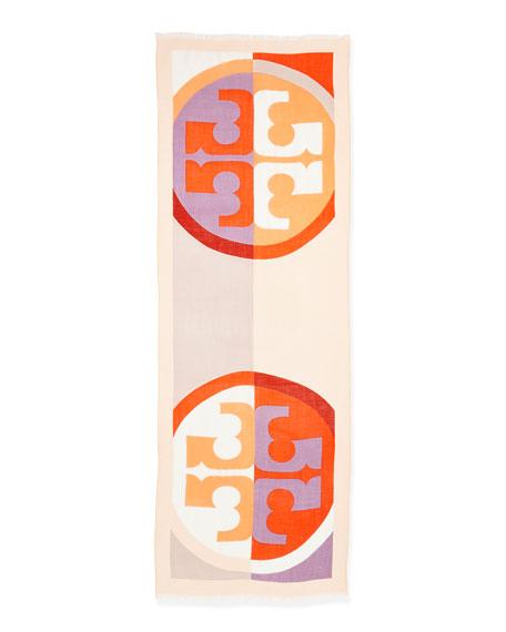 Reva Colorblock T-Logo Scarf, Coral/Cream/Multi