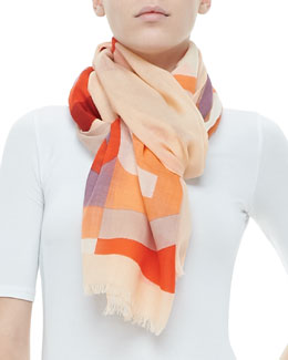 Tory Burch Reva Colorblock T-Logo Scarf, Coral/Cream/Multi