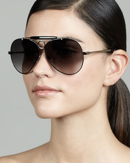 Bar-Detail Aviator Sunglasses