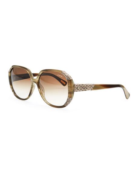 Angled Snake-Print Trim Sunglasses, Green