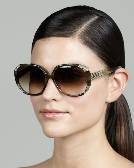 Angled Snake-Print Trim Sunglasses, Green