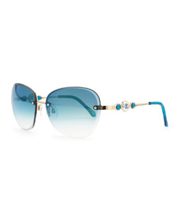 Roberto Cavalli Stilla Rimless Sunglasses, Blue
