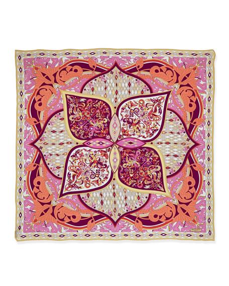 Pavimento Silk Square Scarf, Pink