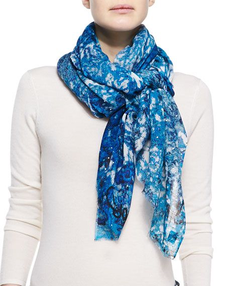 Hanover Marbled Scarf, Blue/Purple/White