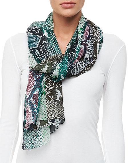 Python-Print Striped Silk Scarf, Multicolor