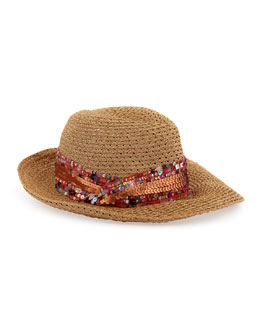 Eugenia Kim Gabriella Sequined Straw Fedora, Camel/Copper