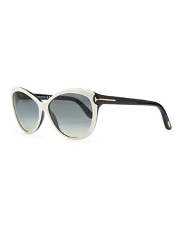 Tom Ford Telma Cat-Eye Sunglasses, Ivory/Black