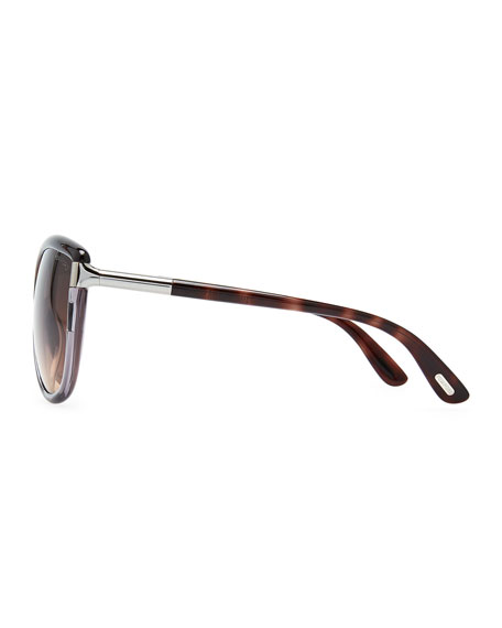 Abbey Oversized Cat-Eye Sunglasses, Black