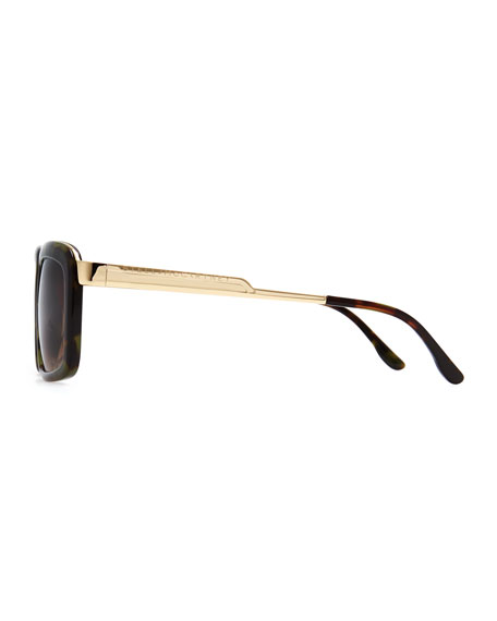 Chunky Square Sunglasses, Green Tortoise