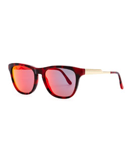 Stella McCartney Mirrored Square Acetate Sunglasses, Bordeaux Tortoise/Red