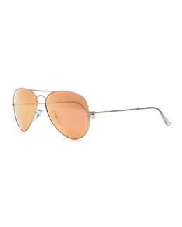 Aviator Mirrored Sunglasses, Brown/Pink