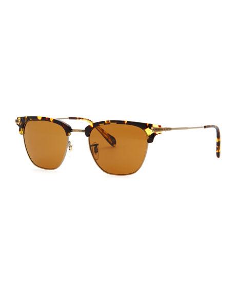 Banks Half-Rim Sunglasses, Tortoise