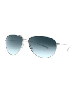 Oliver Peoples Tavener Mirrored Aviator Sunglasses, Silver