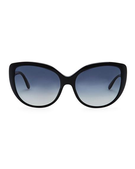 Hedda Oversized Cat-Eye Sunglasses, Black