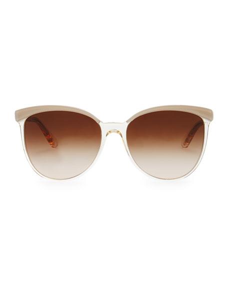 Ria Oversized Wayfarer Sunglasses, Beige