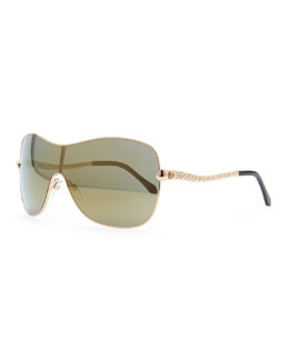 Roberto Cavalli Agena Shield Sunglasses, Rose Golden