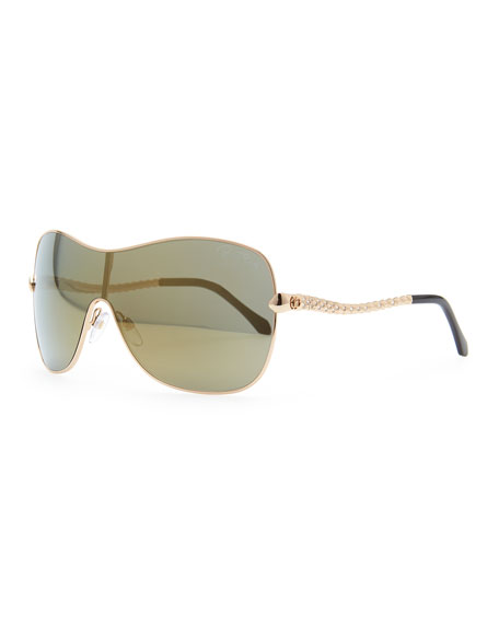 Agena Shield Sunglasses, Rose Golden