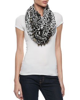 Diane von Furstenberg Animal Circle Infinity Scarf, Black/White
