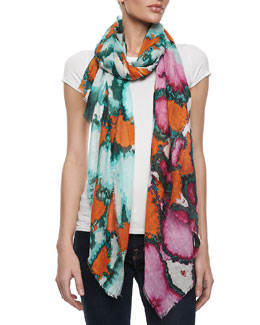 Diane von Furstenberg Hanover Ink Leopard Scarf, Orange/Green/Multi