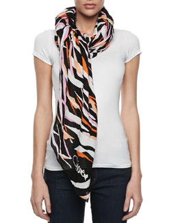 Diane von Furstenberg Security Tiger Shadow Scarf, Black/Pink