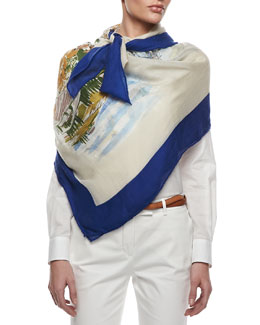 Loro Piana Italy Travel Shawl, Cream/Blue/Multi