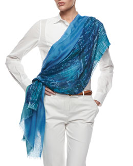 Loro Piana Printed & Solid Blocked Scarf, Blue/Green