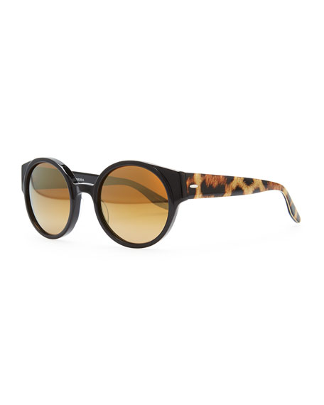 Feldon Round Sunglasses, Black/Leopard