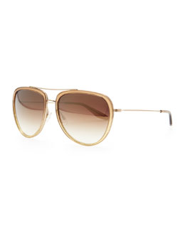 Barton Perreira Rio Aviator Sunglasses, Golden