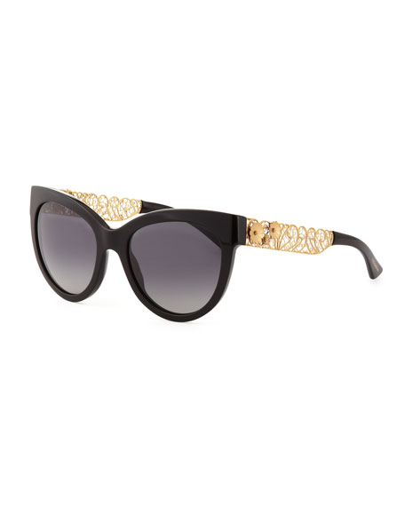 Cat-Eye Sunglasses with Golden Filigree Arms