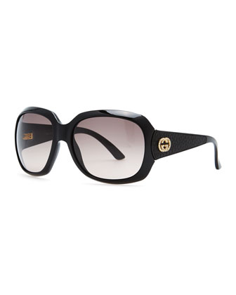 Crystal Interlocking G Sunglasses, Black