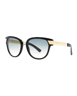 Gucci Gradient Sunglasses, Black/Green