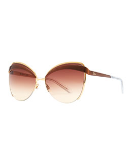 Dior Half-Rim Cat-Eye Sunglasses, Brown