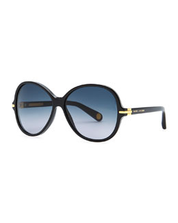 Marc Jacobs Round 503 Gradient Sunglasses, Black/Blue