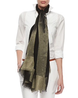 Loro Piana Shimmery Voile Stole, Black/Gold